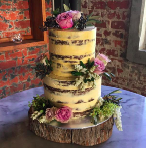 Florals and cake wood slice